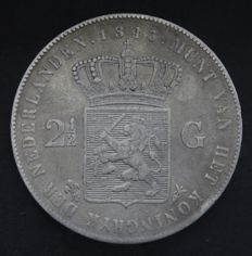 The Netherlands – 2½ Guilder coin 1843, Willem II – Silver