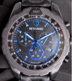 DETOMASO Airbreaker - DT-YG101-E - Chronograph - Black/blue Watch Stainless Steel -  Leather Strap - 10 ATM - New