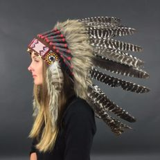 Indian headdress of real wild turkey feathers and natural materials - 21st century