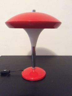 Unknown designer – 1960s red mushroom table lamp