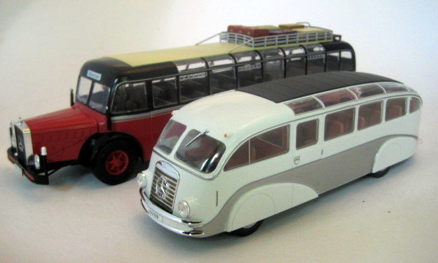 Ixo-Hachette - Scale 1/43 - Lot with 2 buses: Mercedes-Benz O10000-1939 & Mercedes-Benz Lo3100-1939