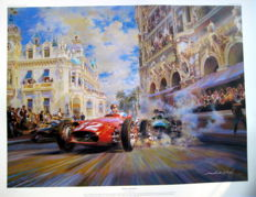 "Fine Art Print - Monaco Grand Prix, 19 May 1937 - ""Dicing at Casino Square"" - Artist : Alfredo de La Maria 2001"