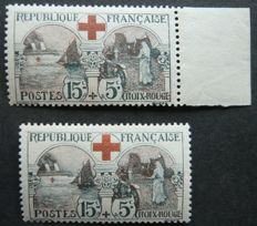 France 1918 - 15 c + 5c black and red, two copies including one edge of sheet - signed Calves with digital certificate - Yvert no. 156.
