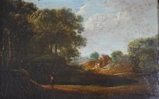 Unknown. (18th century) - A country landscape with figure.