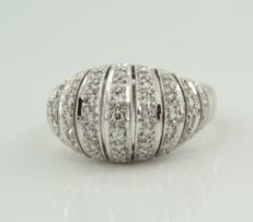 White gold ring, 14 kt, set with 47 single cut diamonds of approx. 0.70 carat in total, ring size 17.5 (55) *** No reserve price ***