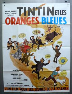 Tintin - Affiche officiel du film - grand format - Tintin et les oranges blues - EO - (1964)