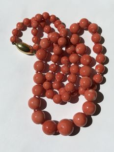 Necklace in Italian coral beads of decreasing size – yellow gold clasp