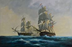 David Short. (1940-) - Two early 19th century ships in a sea battle.