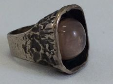 Handmade 925 silver ring with rose quartz - ring size 16.8 mm
