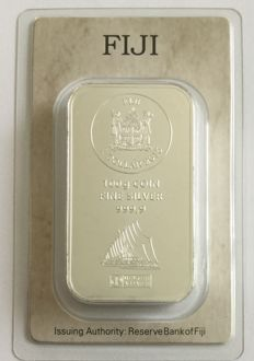 Fiji Heraeus: 100 g silver bars, sailing ship motif bar from 2015, new and sealed