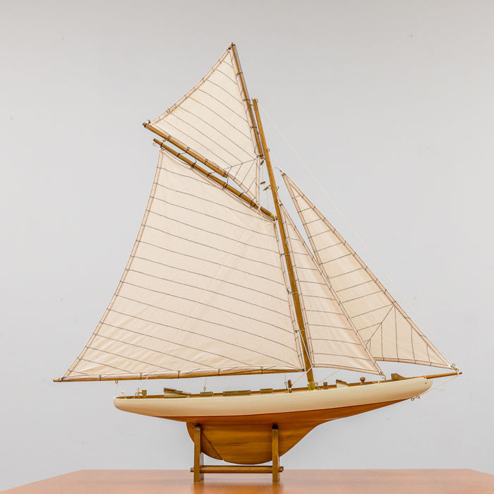 Unique wooden sailboat.