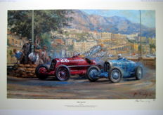 "Fine Art Print - ""Fire and Ice"" - Monaco Grand Prix 1933 - Alfa Romeo/Bugatti - Nuvolari/Varzi"