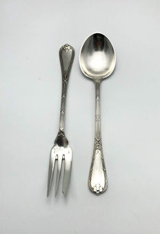 Antique - Christofle - big serving fork & spoon - ca. 1930
