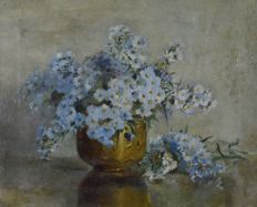 Unknown. (Late 19th / early 20th century) - A still life of vase of michaelmas daises.
