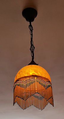 Two modernist lamps made of bronze and amber colour glass, approx. 1950, Spain.