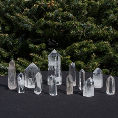 Collection of Rock Crystal points - 5.5 tot 12cm - 1.123 kg  (12)