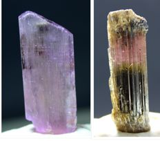 Undamaged Tri Color Tourmaline Crystal & Deep Pink Kunzite Crystal Lot - 44 Gram (2)
