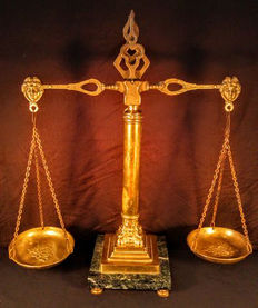French style Antique Ornate Brass Balance Scales of Justice