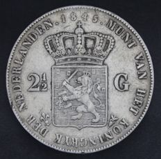The Netherlands – 2½ guilder coin 1845 (lily with pearl on the edge), Willem II – silver