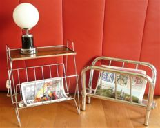 A vintage chrome newspapers standard and an end table/newspaper table.