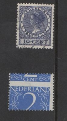 The Netherlands 1934/1946 - Wilhelmina 'Veth' and number - NVPH 183B + 461 misprints