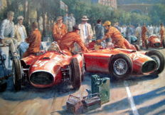 "Fine Art Print - ""Early Start"" Lancia-Ferrari D50A - Collins/Musso - Monaco 1956 -  Print : Artist Alan Fearnley 1994"