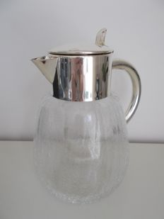 Craquelé water jug with silver plated top, handle and ice compartment, WMF, Germany, ca. 1950