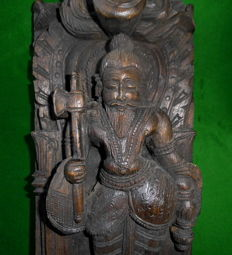Wood carved statue of Parashurama - India - second half 20th century