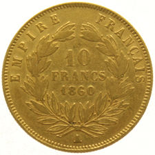 France – 10 Francs 1860 A – Napoleon III – gold