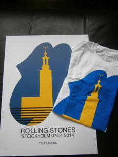 Rolling Stones -14 on fire tour 2014 -exclusive Lithograph + T-shirt