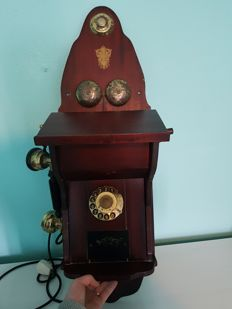 Antique Koobenhavnsk wall phone - 1897 - Wood and copper