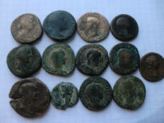 Roman Empire – lot with 13 aces and sestertius from 11 emperors and empresses (Augustus, Trajana, Marcus Aurelius, Domitian, Claudius, Severus, Antoninus).