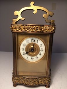 French Gilded Carriage Clock Circa 1890