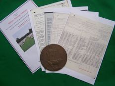 WW1 British Bronze Memorial Plaque, Death Penny & Copy Record Papers