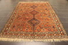 Collector's item, hand-knotted Persian carpet, Qashqai Shiraz nomad carpet, wool on wool, made in Iran, 160 x 290 cm