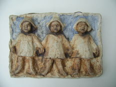 Mobach - embossed plaque pottery - 3 bargee's