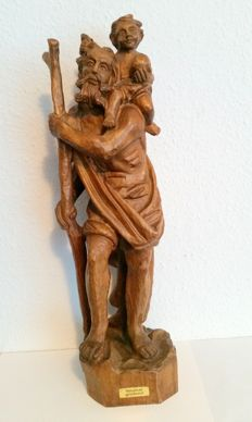 Wooden figure of Saint Christopher with the Christ child