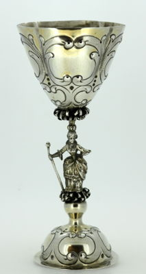 German import silver goblet with mark of Bertold Muller, Chester - 1907