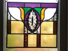 "Beautiful Deco Amsterdam School hand-stained stained glass with mosaic pieces from mouth-blown glass Window hanger from ""Cardinal"" - around 1900"