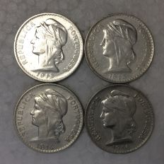 Portugal – 4 x 50 Centavos coins – 1912, 1913, 1914 and 1916 – silver