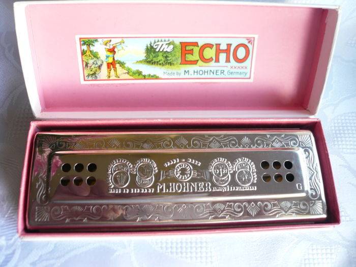 M  Hohner, the Echo Harp, 55/80, C/G, harmonica, made in Germany