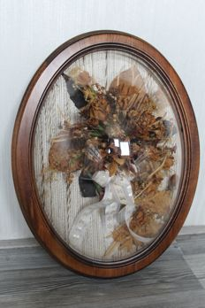 (Bridal) bouquet, dried and framed, mid 20th century