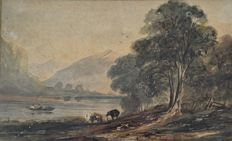 George Arthur Fripp. (1813-1896) - A mountainous landscape with lake and cattle.