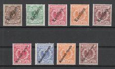 German colonies Caroline Islands and Marshall Islands 1900 - lot of crown / eagle stamps with overprint - Michel 1II / 6II and 9-12