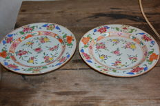 Famille rose pair of  plates with fruits decor - China - 18th century