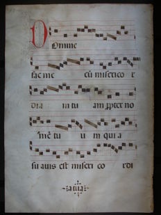 Manuscript; Leaf from a medieval gradual - c. 1500