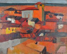 M L Rivoire. (20th century) - A view across the rooftops.