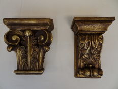 Two large gold-plated Baroque style wall brackets