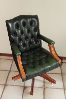 Edwardian style leather desk chair - United Kingdom - mid 20th century
