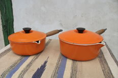 "Two pans with lid - cast iron, ""Le Creuset"""